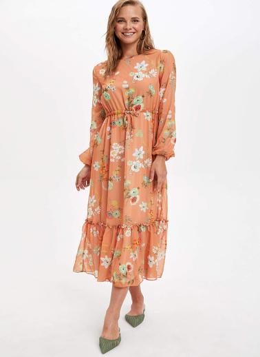 DeFacto Çiçekli Uzun Elbise Oranj